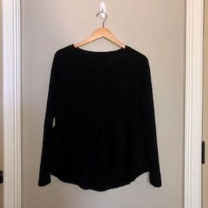 Black Long Sleeve Peplum Top